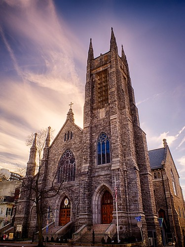 city sunset brick church architecture clouds buildings churches ct sunny clear tall stamford hdr3exp olympusomdem1 thebasilicaofsaintjohntheevangelist