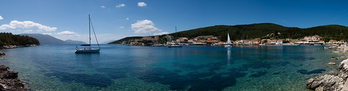 panorama island greek harbour panoramic greece kefalonia fiscardo ionian fiskardo cefalonia