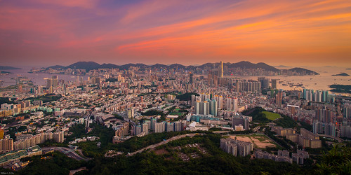 sunset hongkong dusk kowloon beaconhill