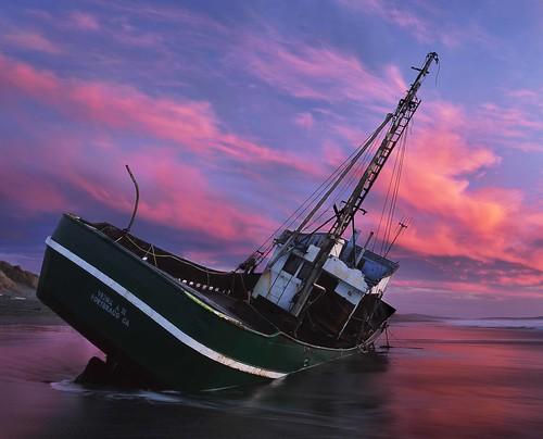 verna 2 fishing boat trawler old green metal wreck beach shipwreck salmon creek sonoma county california coast sand wet surf waves color sunrise sunset pink rz67 velvia provia e100 morning evening bodega bay
