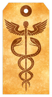 Caduceus Grunge Tag - Sepia | by Free Grunge Textures - www.freestock.ca
