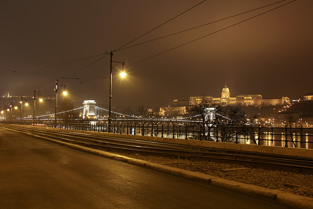The chain bridge and the Buda castle with tram rails