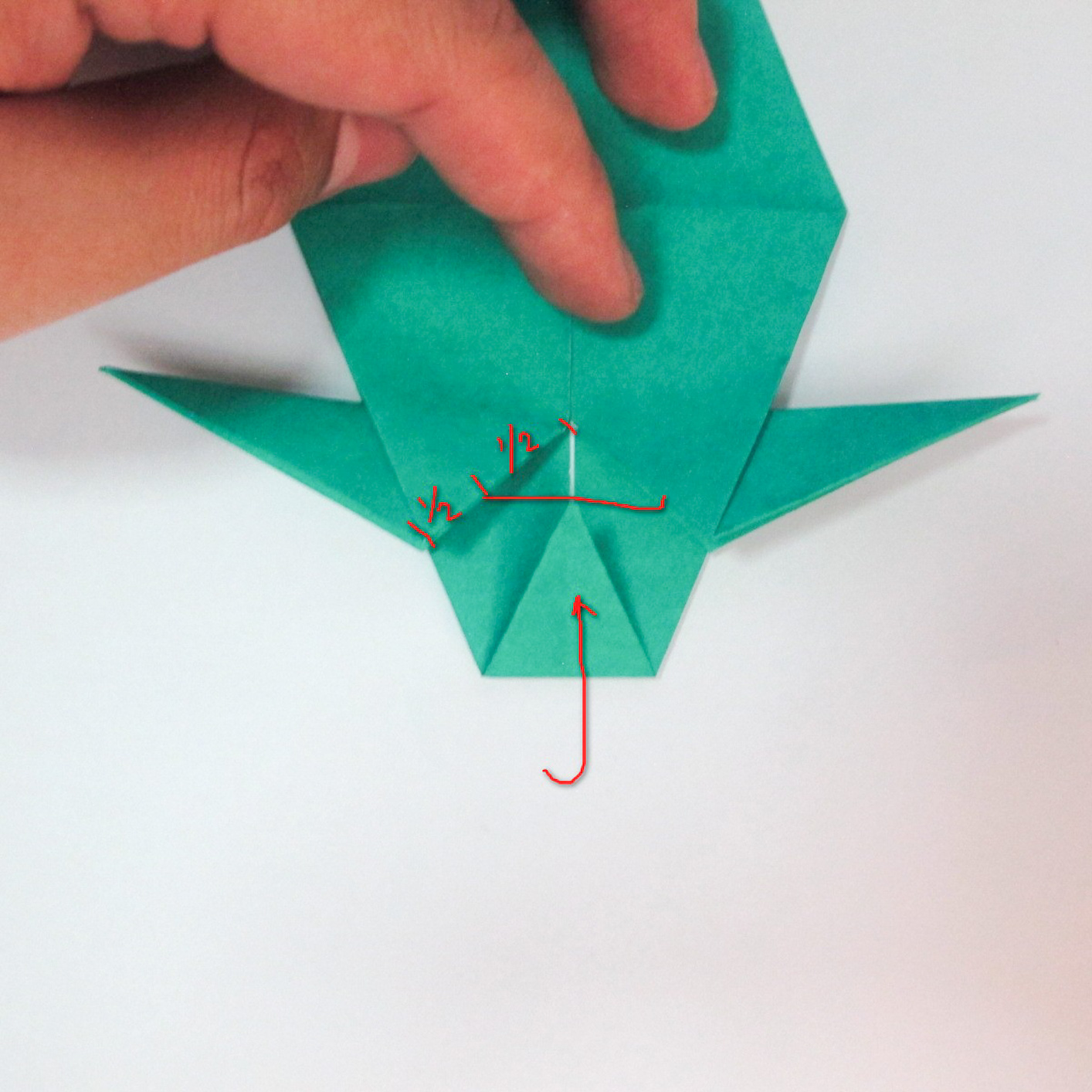 สอนวิธีการพับกระดาษเป็นรูปปลาฉลาม (Origami Shark) 027