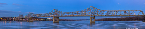 city bridge blue winter panorama cold cars ice clouds lights evening frozen illinois twilight january panoramic fullmoon moonrise riverfront interstate icy rise peoria minimoon illinoisriver i74 eastpeoria pentaxa50mmf17 kevinpalmer pentaxk5