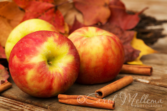 Apples, Cinnamon Sticks and Fall leaves