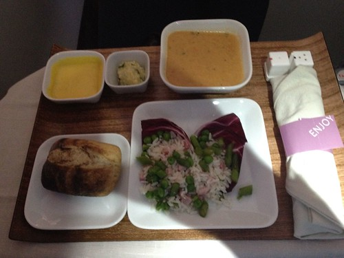 Soup and salad course on flight   by MatthewW