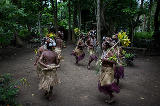 A group of women dancing as part of a small nambas dance as part of a kastom village tour on Malekula Island, Vanuatu. | by DFAT photo library