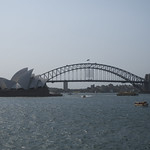 The harbour bridge and opera house from near Mrs Macquarie's Chair.