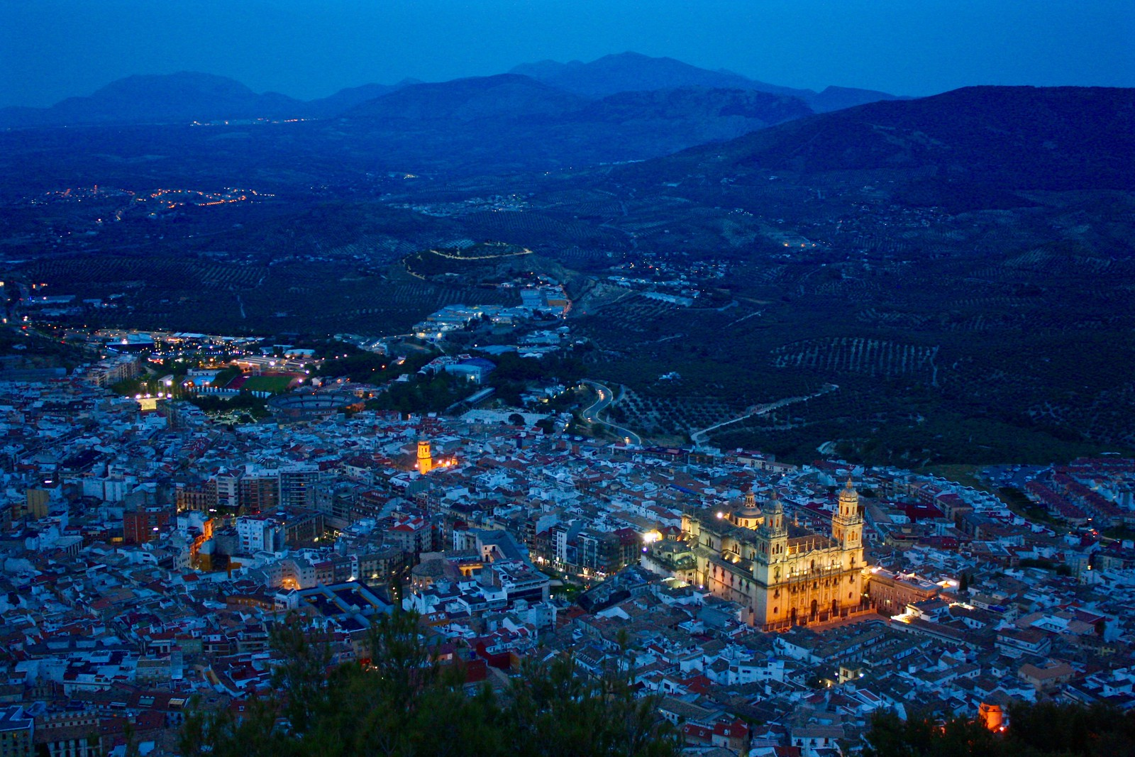 Panoramic view of Jaén, Spain, at the Blue Hour
