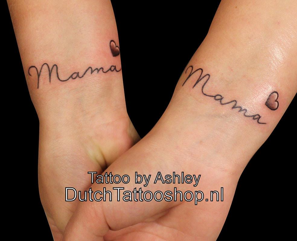 Arm Onderarm Pols Tattoo Mama Tekst Hart Heart Dutch