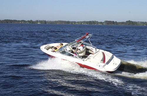 Photo of motorboat moving through the water