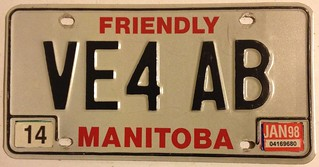 MANITOBA 1998 ---AMATEUR RADIO LICENSE PLATE ---ON 1983-85 BASE PLATE | by woody1778a