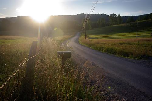 sunset rural landscape dusk farm country farmland westvirginia countryroad sunflare