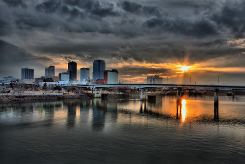 sunset day cloudy littlerock arkansasriver onthebridge arkanasas