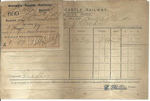 Bishop's Castle Railway Receipt note 1897 | by ian.dinmore