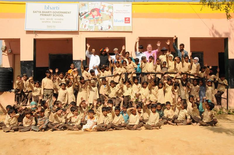 Maharaja of Achrol Bagh inspecting School