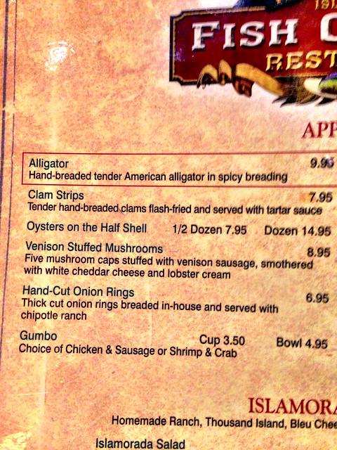 Gator on the menu!