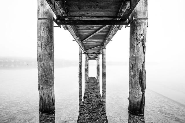 under the pier..