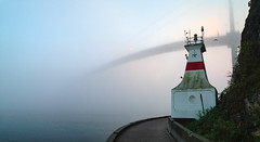 Prospect Point Lighthouse and Lion's Gate Bridge, foggy