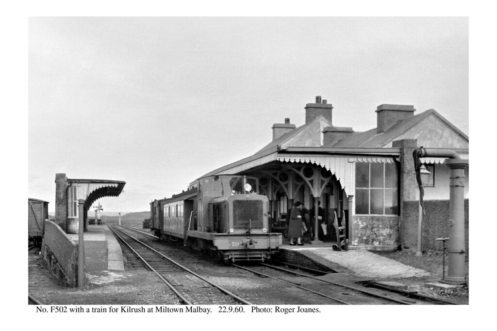 Miltown Malbay. F502 & train for Kilrush. 22.9.60 by Roger Joanes