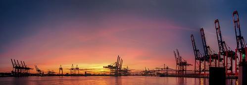 panorama port sunrise germany deutschland pentax harbour ships hamburg cranes matthias hafen sonnenaufgang schiffe kräne k7 körner rawhdr sigma18250 mattkoerner1