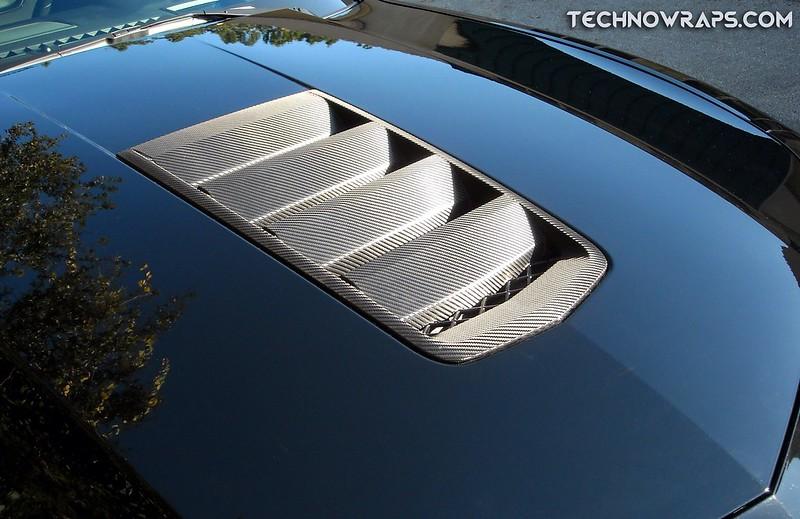 Carbon fiber wrapped Camaro hood scoop