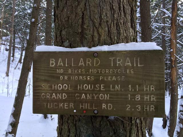 Bill Ballard Trail Sign: sign vermont norwich snowshoeing billballardtrail