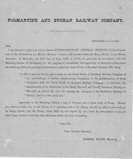 Formartine & Buchan Railway EGM notice 1866 | by ian.dinmore