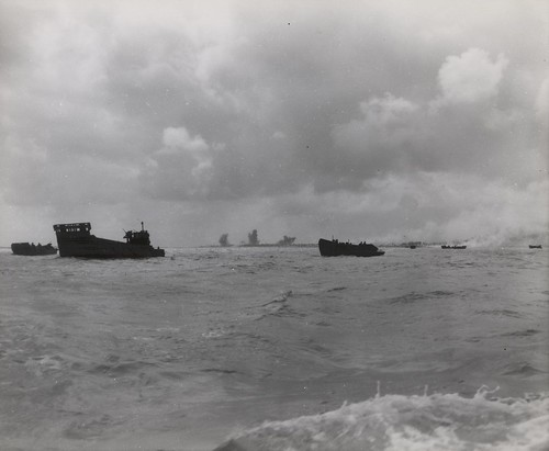 Landing Barges and LST Boats, Tarawa, November 1943   by Archives Branch, USMC History Division