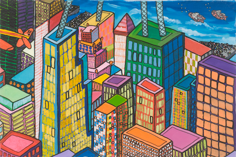 "Midtown West with Two Flying Fish (16"" x 24"" acrylic on canvas)"