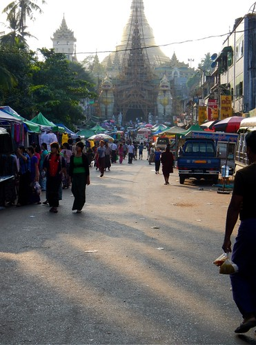 the street leading up to one of the gates into Golden Shwedagon Pagoda in Yangon, Myanmar