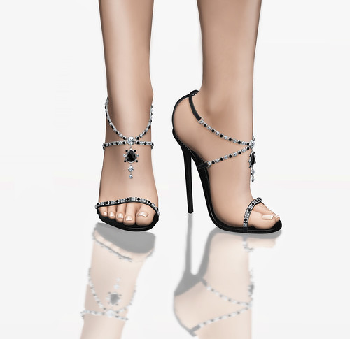 Mata Hari Jeweled Stilettos - Black Leather | by SaxShepherd