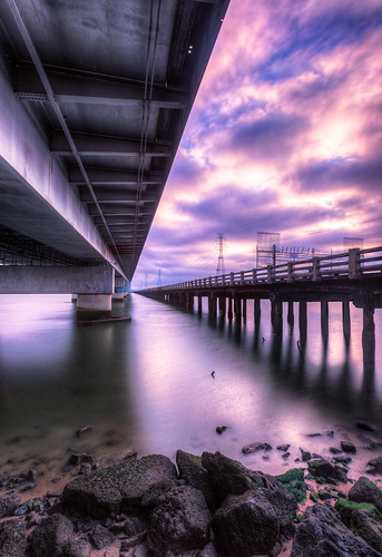 california longexposure bridge sky beach water clouds sunrise pier rocks unitedstates bridges shore slowshutter sunrises sanmateo fostercity longexpo highway92 hwy92