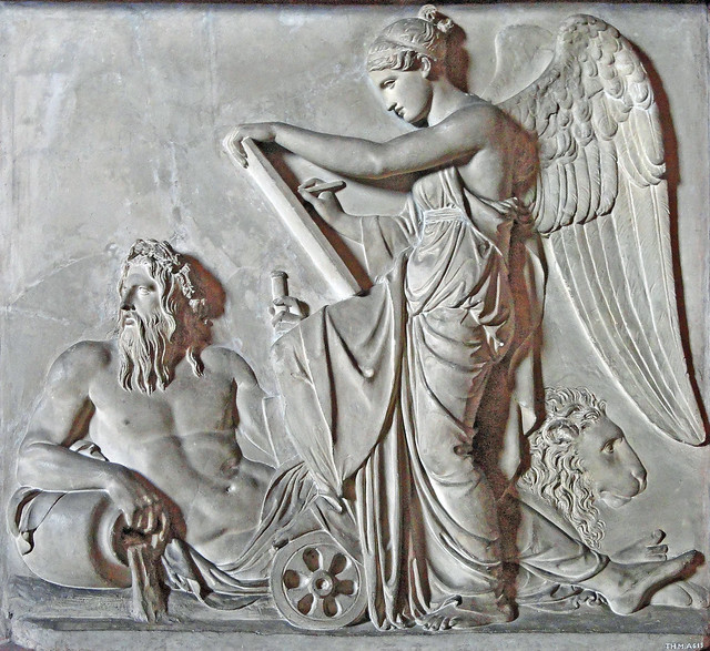 Nemesis recites the deeds of men - river god Arno (Tuscany) & Marzocco (Florence)