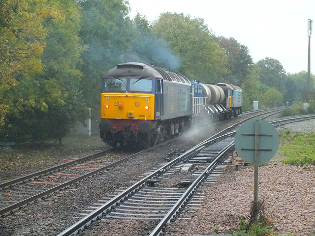 57009 & 57004 T&T the Sandite train through Westerfield, on the first run to Lowestoft. 10.11, 05 11 2013 a