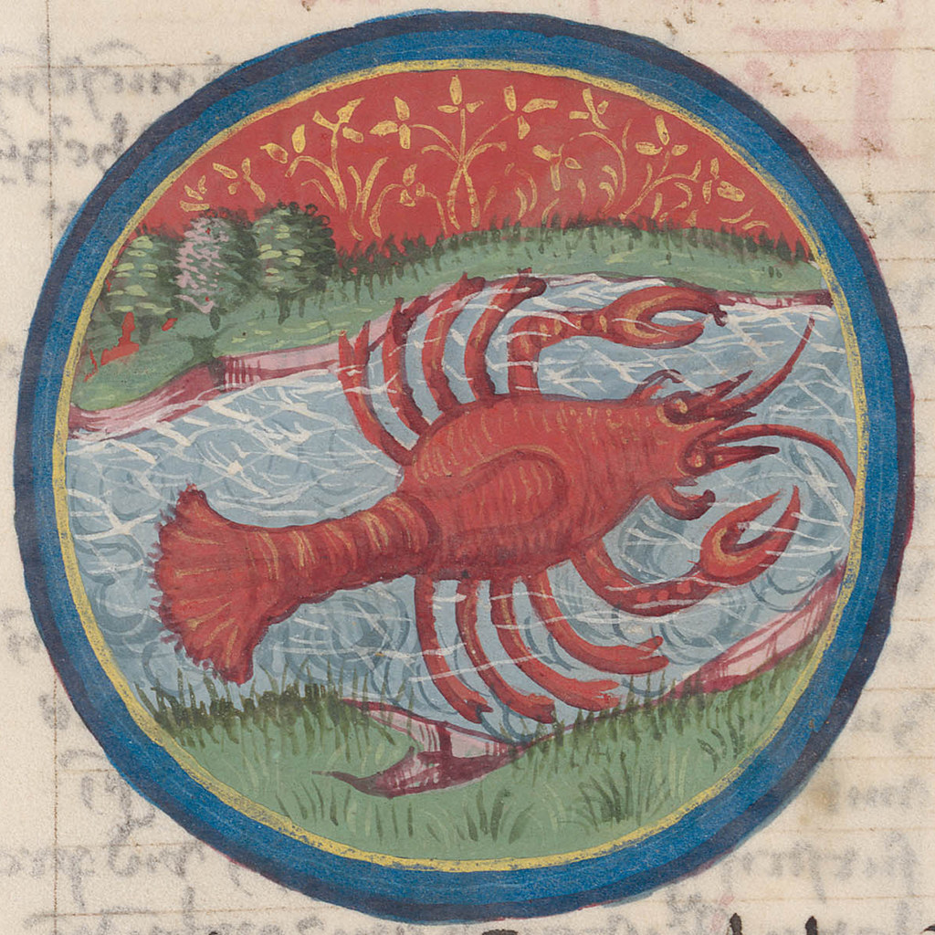 Zodiac sign of CANCER in a 15th century manuscript