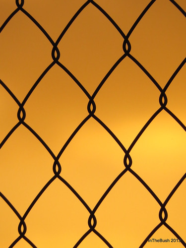 sunset orange abstract fence wire pattern cyclone