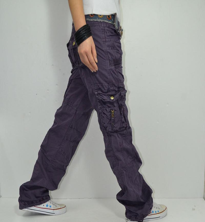 Wrinkled purple cargo pants