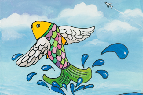"The Big Flying Fish (16"" x 24"" acrylic on canvas)"