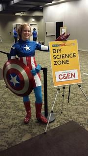 Captain American  ( aka @tereshkova2001) leading the way to DIY Science Zone!!!