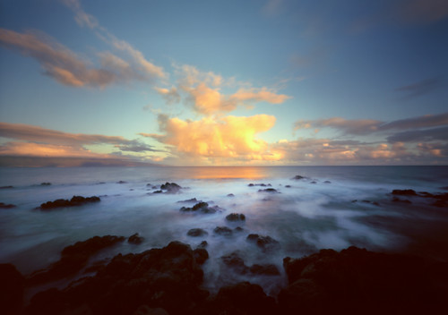 film clouds analog sunrise landscape hawaii offshore lofi maui pinhole pacificocean tropical 6x9 woodencameras innova6x9