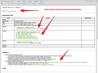 Evernote Research Log top for KENNEDY Sarah | by colleengreene