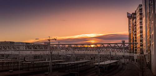 sunrise oslo sentral station morning bracketing panorama