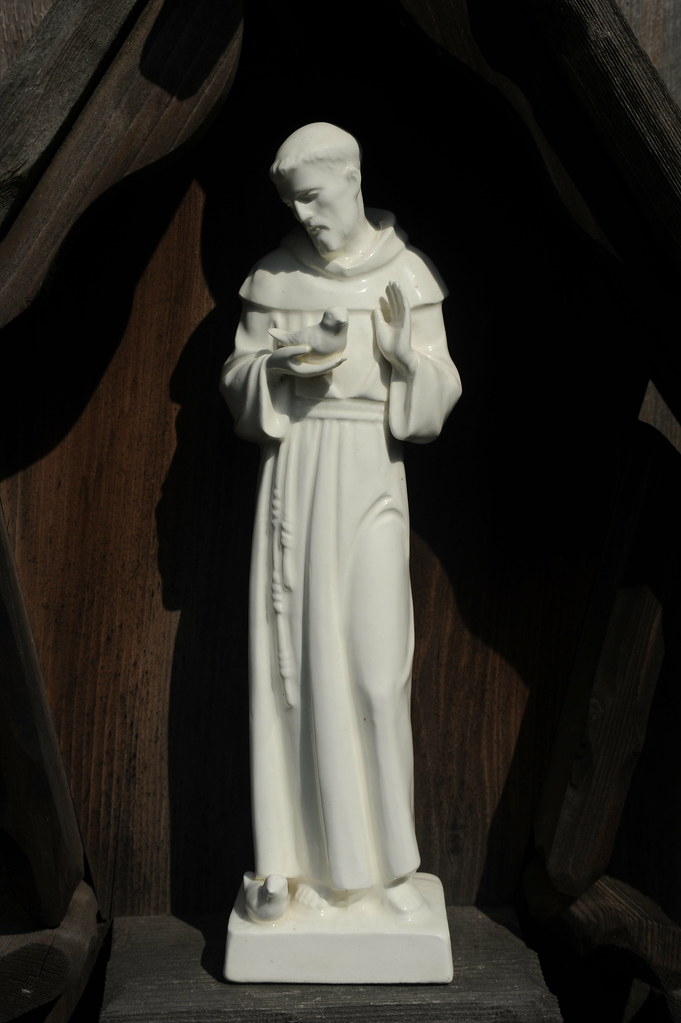 Saint Francis Holding A Bird While Praying Gazing At The Flickr