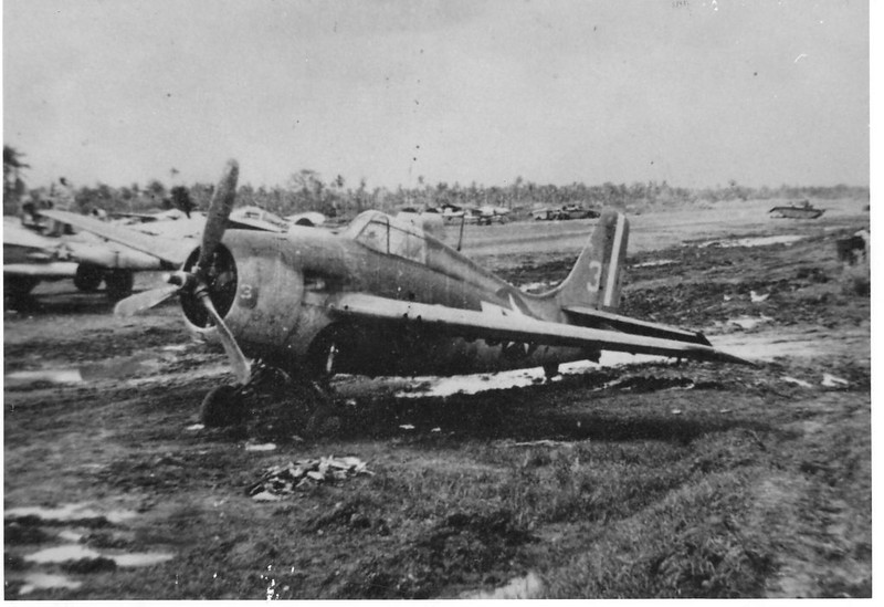 Aircraft of VC-65 from the USS St. Lo (CVE-63) damaged on the ground.