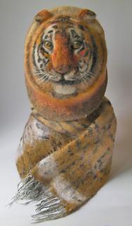 Tiger felt hat and scarf