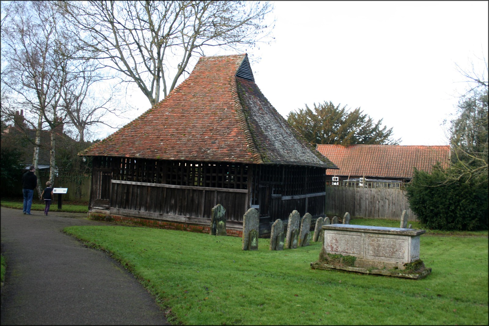 The bell cage at East Bergholt Church The bells of this church are housed in this building in the church yard.