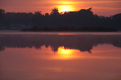 summer sunrise reflections day cloudy martinspond
