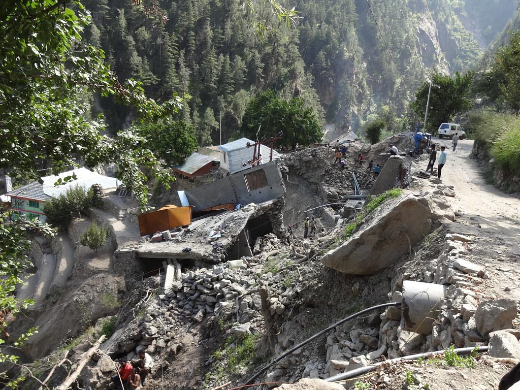 Landslide at Pangi village in Kinnaur, Himachal Pradesh.