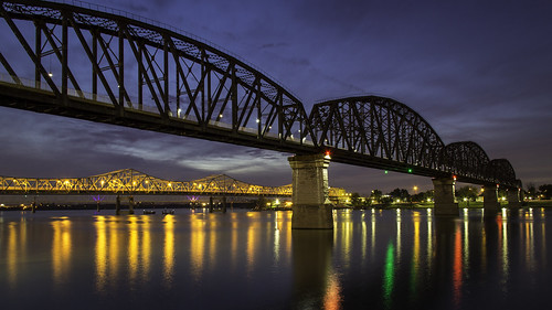 park bridge sunset reflection water night lights waterfront cloudy kentucky indiana fair louisville ohioriver jeffersonville 60d thebigfour